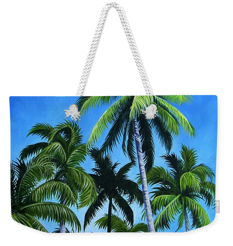 Palms Weekender Tote Bag featuring the painting Palm Trees Under A Blue Sky by Juan Alcantara