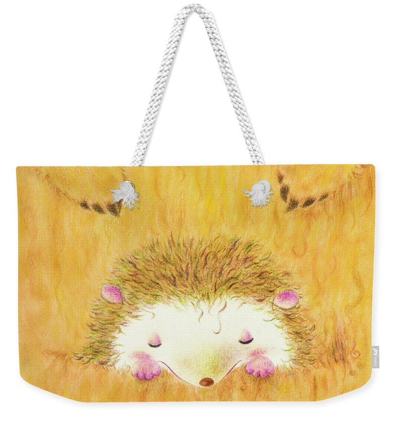 Hedgehog Weekender Tote Bag featuring the mixed media Palmeo And Kangaroo by Jennette Lau