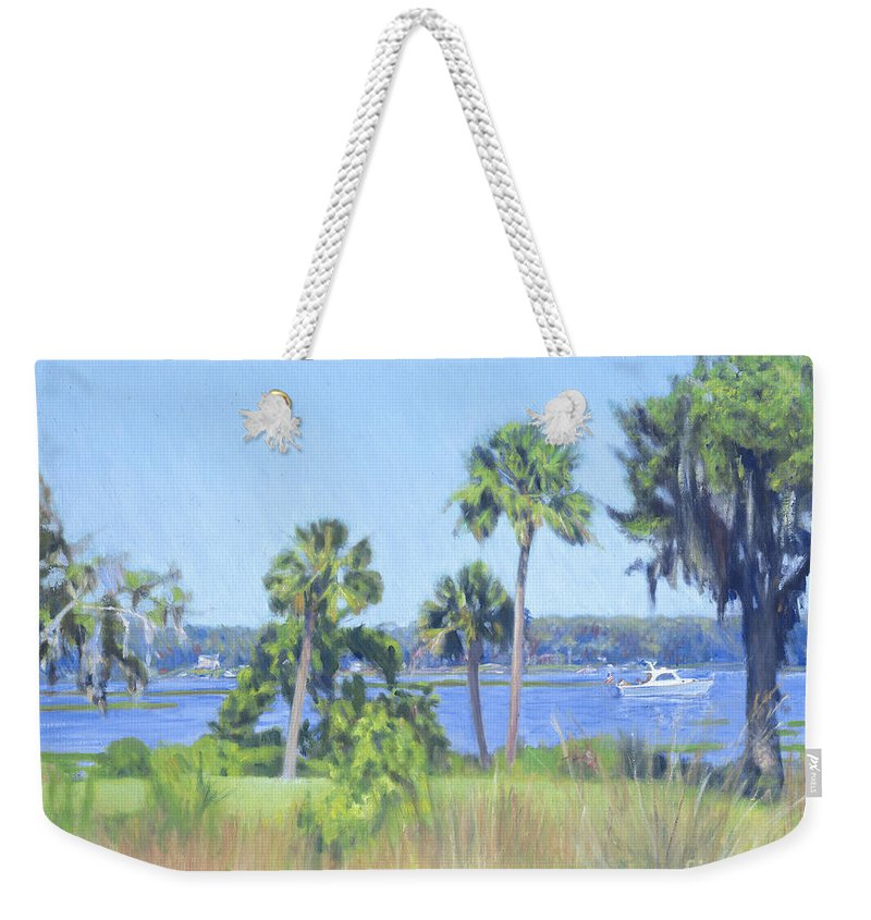 Palmetto Bluff Weekender Tote Bag featuring the painting Palmetto Bluff Backyard by Candace Lovely