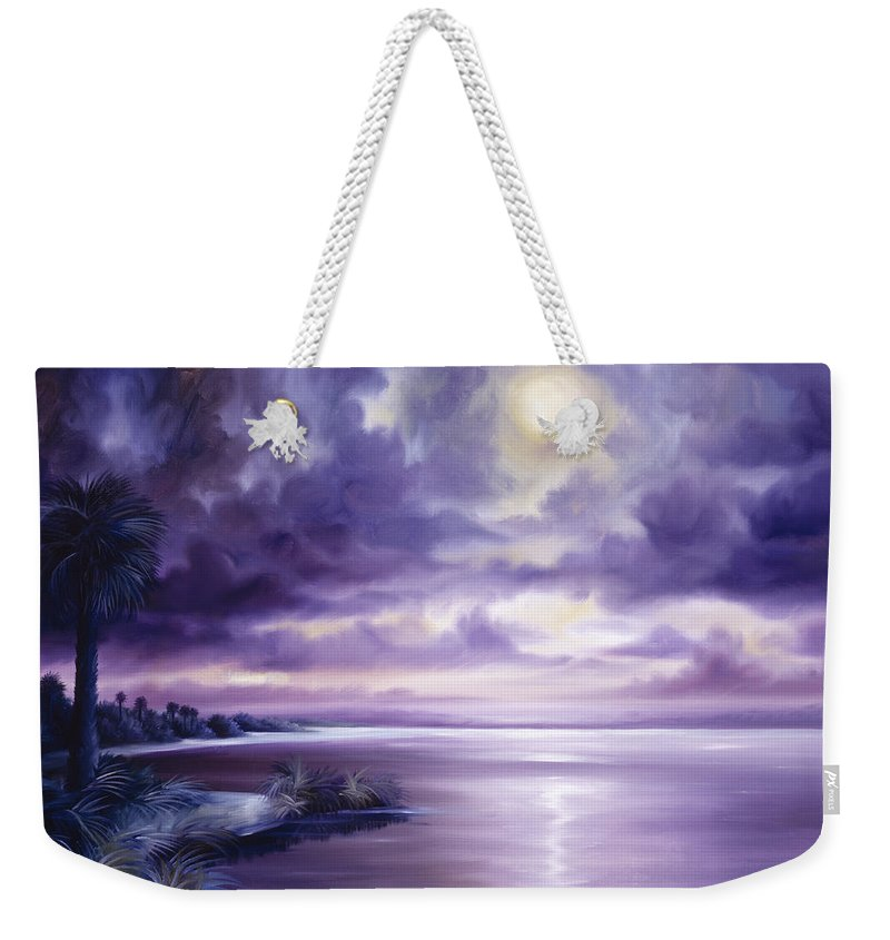 Moon Weekender Tote Bag featuring the painting Palmetto Moonscape by James Christopher Hill