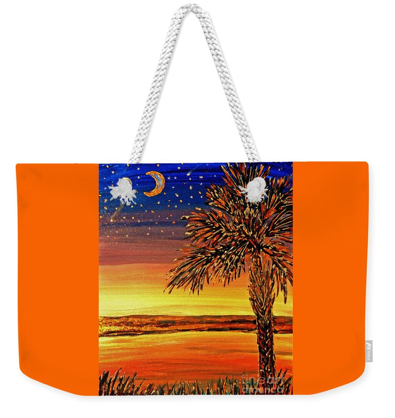 Palmetto Weekender Tote Bag featuring the painting Palmetto Sunset by Patricia L Davidson