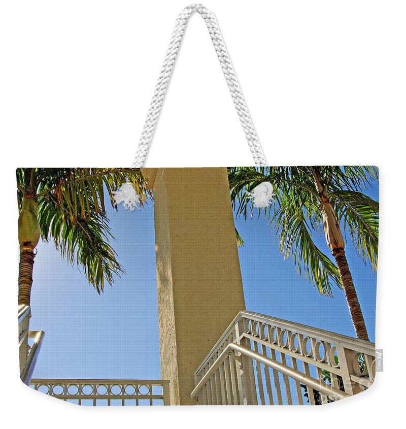 Palm Weekender Tote Bag featuring the photograph Palms And Stairs by Zal Latzkovich