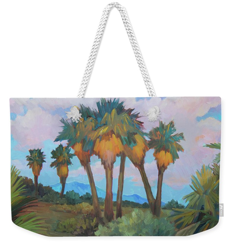 Anza Weekender Tote Bag featuring the painting Palms At Anza Borrego State Park by Diane McClary