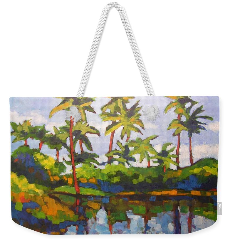 Hawaiian Weekender Tote Bag featuring the painting Palms Reflections by Mary McInnis
