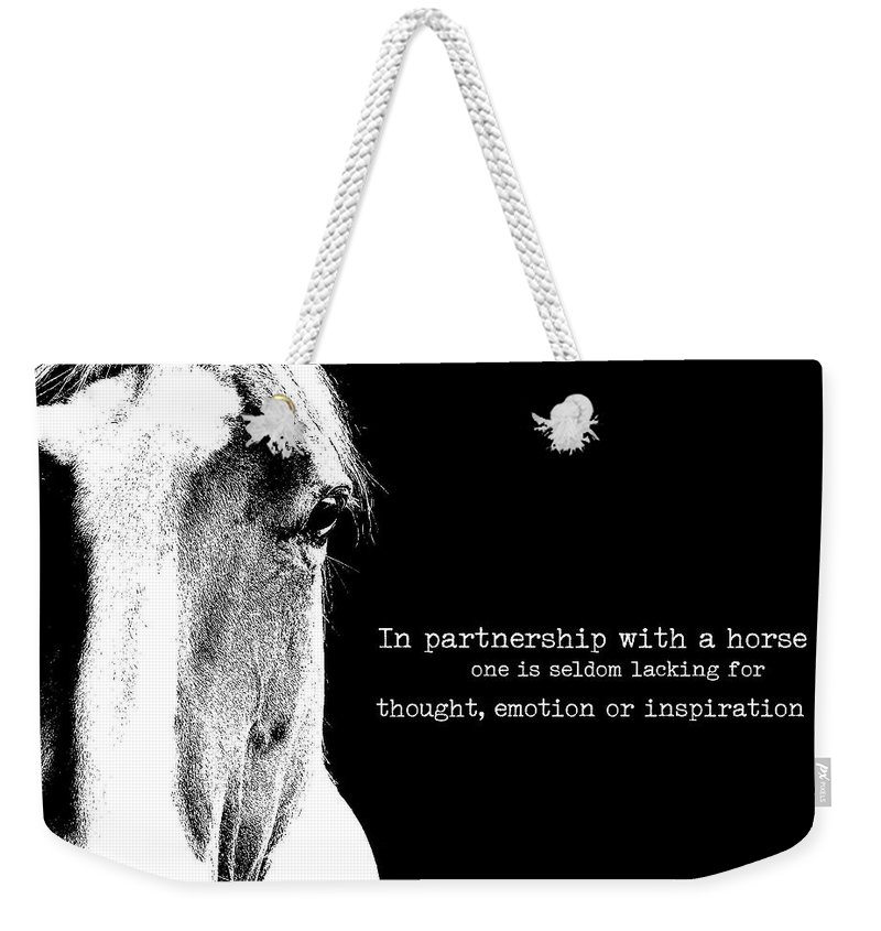 Horse Weekender Tote Bag featuring the photograph Palomino Art Quote by JAMART Photography