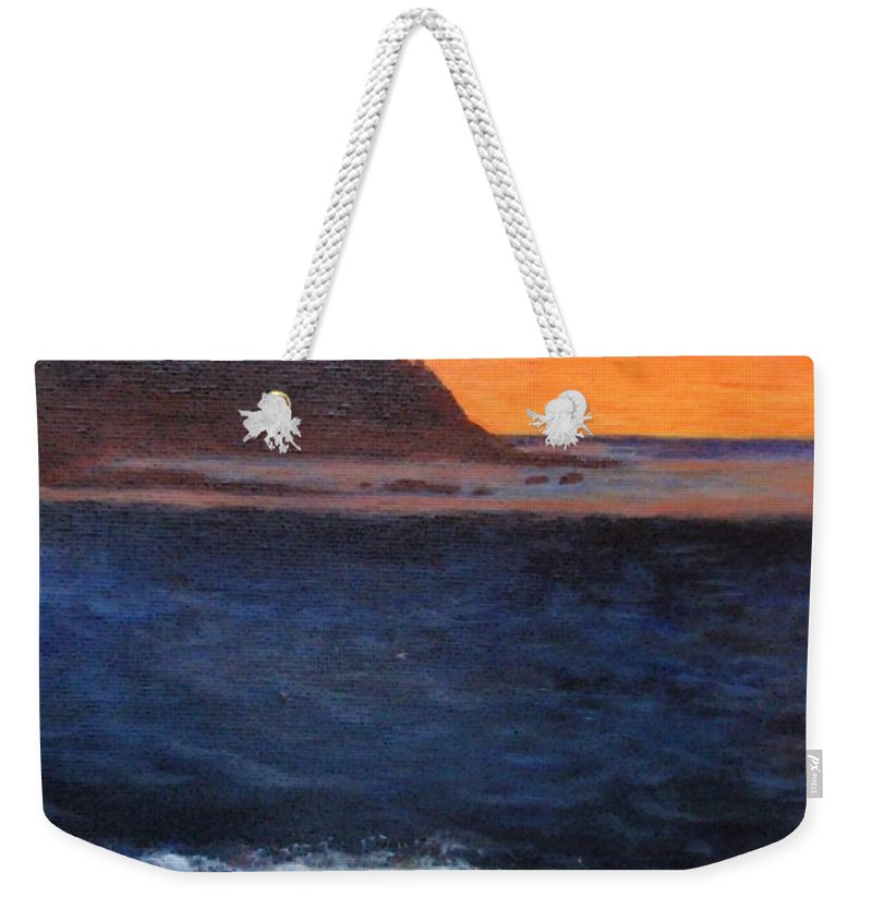 Sunset Weekender Tote Bag featuring the painting Palos Verdes Sunset by Jamie Frier