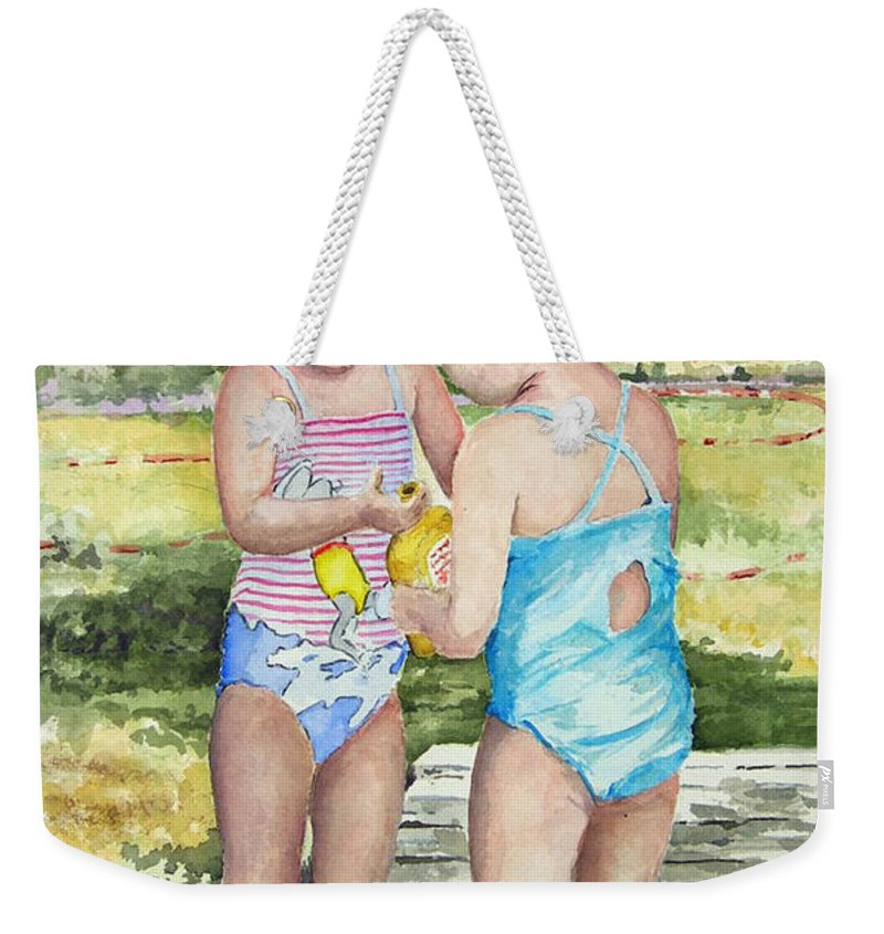 Children Weekender Tote Bag featuring the painting Pals Share by Sam Sidders