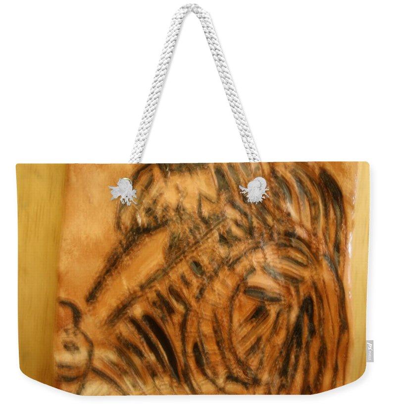 Jesus Weekender Tote Bag featuring the ceramic art Pam - Tile by Gloria Ssali
