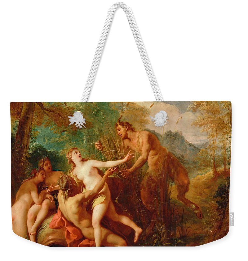 Jean-francois Detroy Weekender Tote Bag featuring the painting Pan And Syrinx by Jean-Francois Detroy