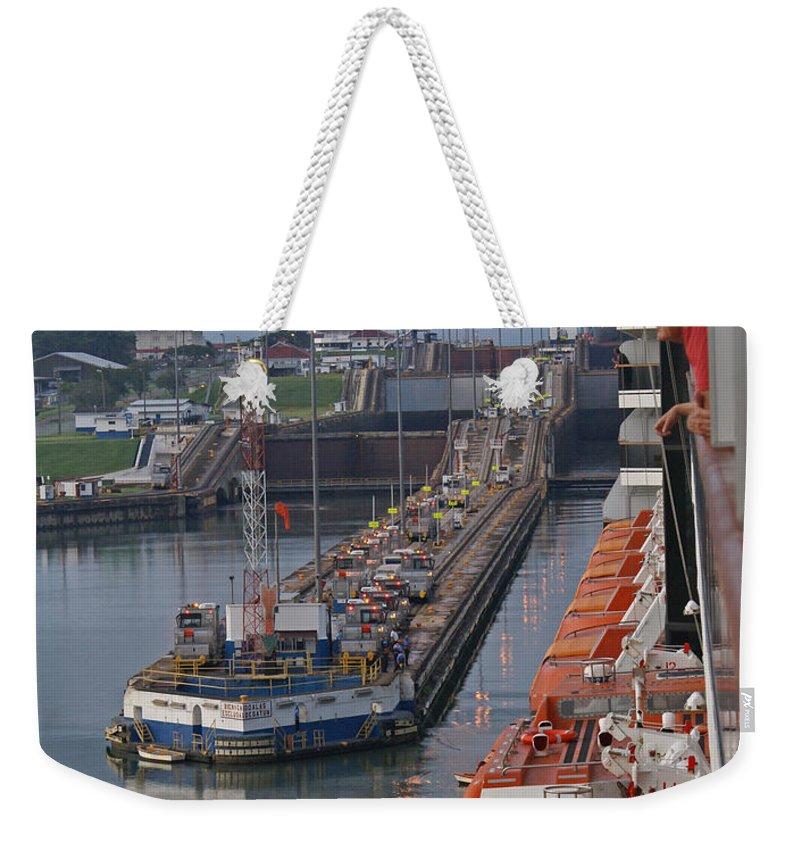 Panama Weekender Tote Bag featuring the digital art Panama Canal by Heather Coen