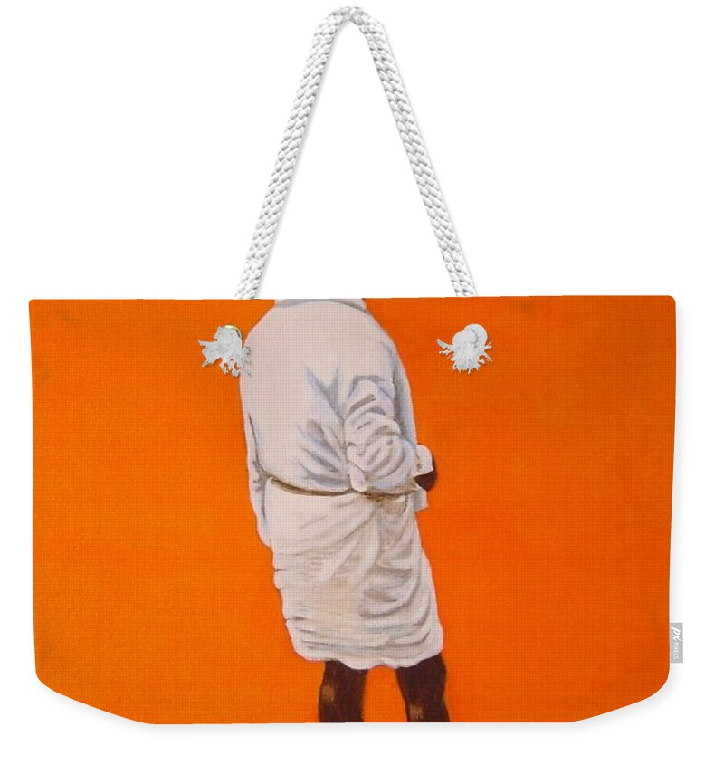 Lungi Weekender Tote Bag featuring the painting Panche by Usha Shantharam
