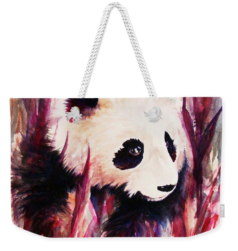 Panda Weekender Tote Bag featuring the painting Panda by Rachel Christine Nowicki