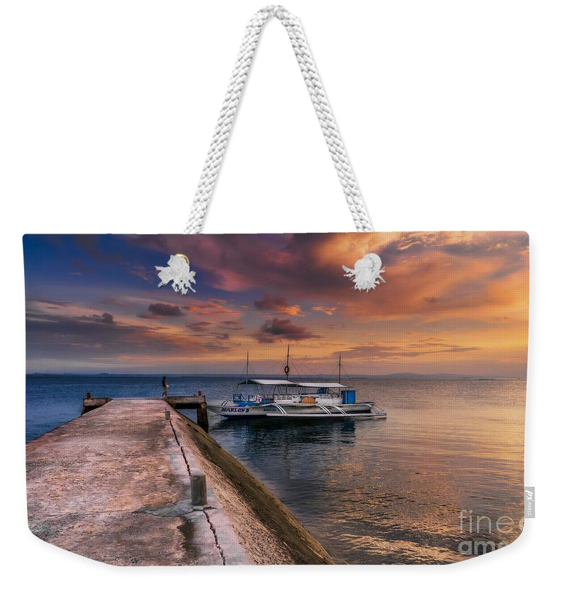 Sunset Weekender Tote Bag featuring the photograph Pandanon Island Sunset by Adrian Evans