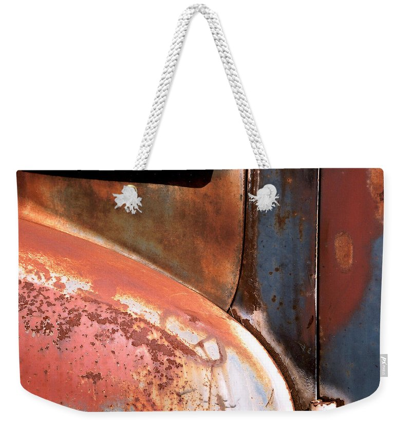 Abstract Weekender Tote Bag featuring the photograph Panel From Ole Bill by Steve Karol