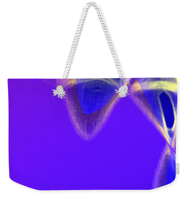 Abstract Weekender Tote Bag featuring the digital art Panel One From Movement In Blue by Steve Karol