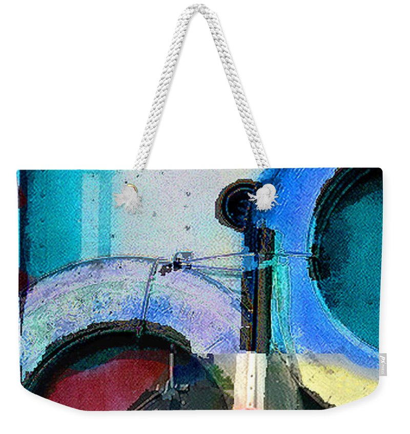 Abstract Weekender Tote Bag featuring the photograph panel three from Centrifuge by Steve Karol