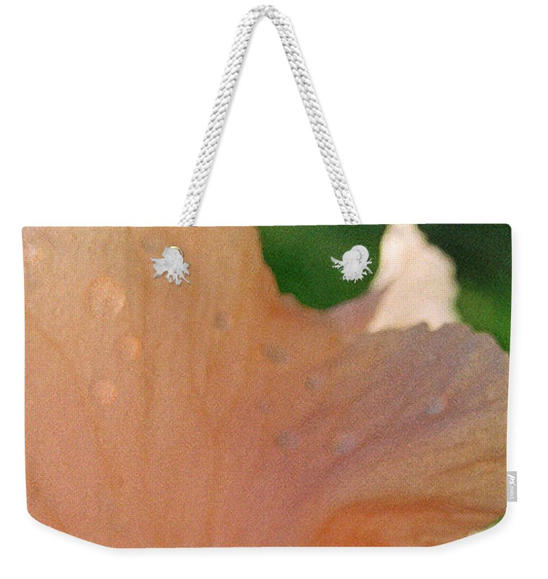 Abstract Weekender Tote Bag featuring the photograph Panel Three From Iris by Steve Karol