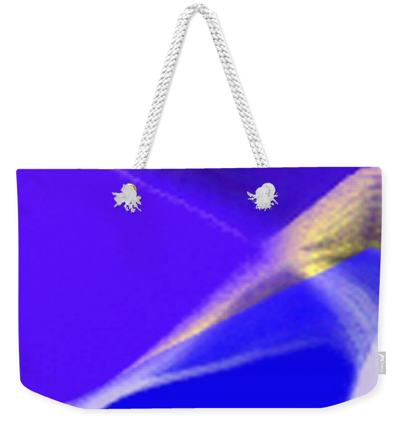 Abstract Weekender Tote Bag featuring the digital art panel three from Movement in Blue by Steve Karol