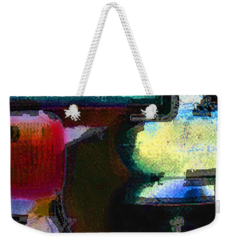 Abstract Weekender Tote Bag featuring the photograph panel two from Centrifuge by Steve Karol