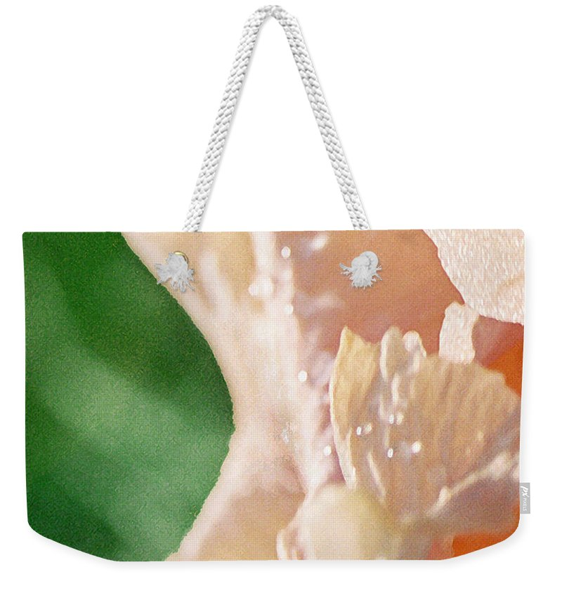 Abstract Weekender Tote Bag featuring the photograph panel two from Iris by Steve Karol