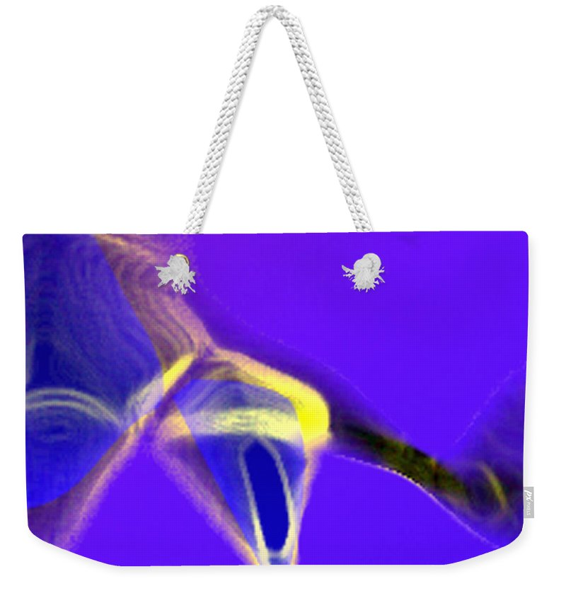 Abstract Weekender Tote Bag featuring the digital art panel two from Movement in Blue by Steve Karol