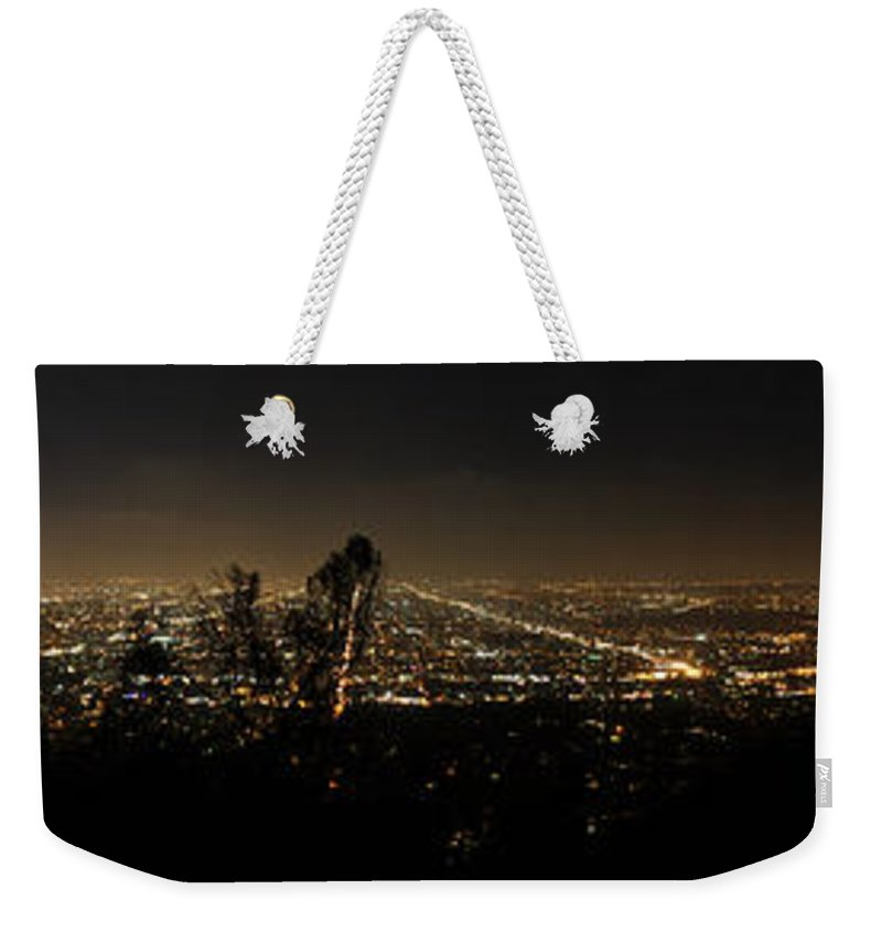 Clay Weekender Tote Bag featuring the photograph Pano From Griffeth Observatory by Clayton Bruster