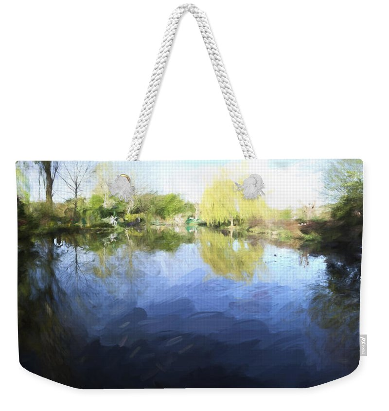 Path Weekender Tote Bag featuring the photograph Panorama 2 Of Monets Garden In Giverny by David Smith
