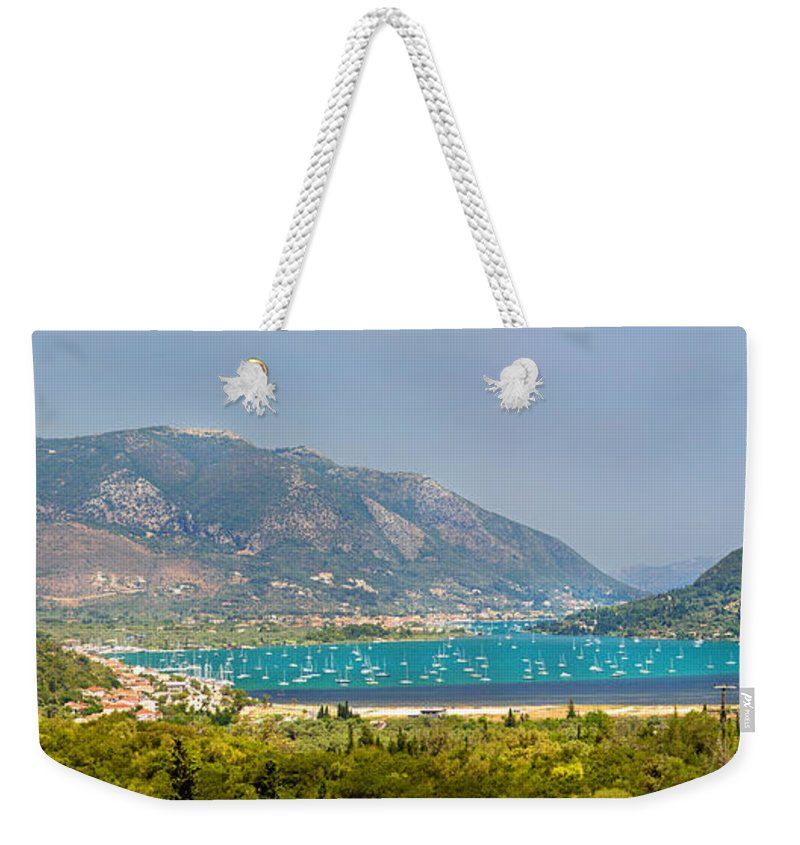 Panorama Weekender Tote Bag featuring the photograph Panorama On Greek Island by Sandra Rugina