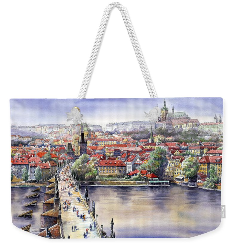 Watercolour Weekender Tote Bag featuring the painting Panorama With Vltava River Charles Bridge And Prague Castle St Vit by Yuriy Shevchuk