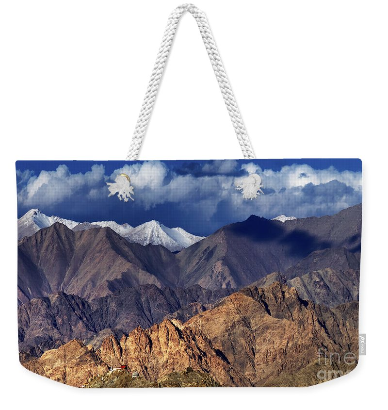 Ice Peak Weekender Tote Bag featuring the photograph Panoramic Rocky Landscape Of Leh City Ladakh Jammu And Kashmir India by Rudra Narayan Mitra