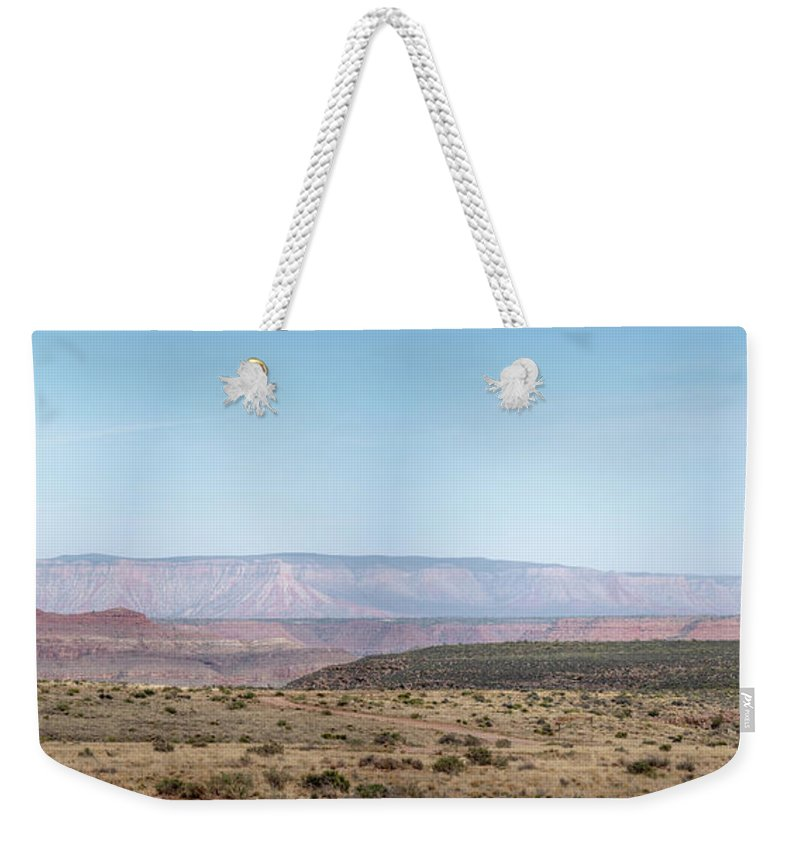 Arizona Weekender Tote Bag featuring the photograph Panoramic View Of Open Desert Field In Nevada With Grand Canyon by PorqueNo Studios