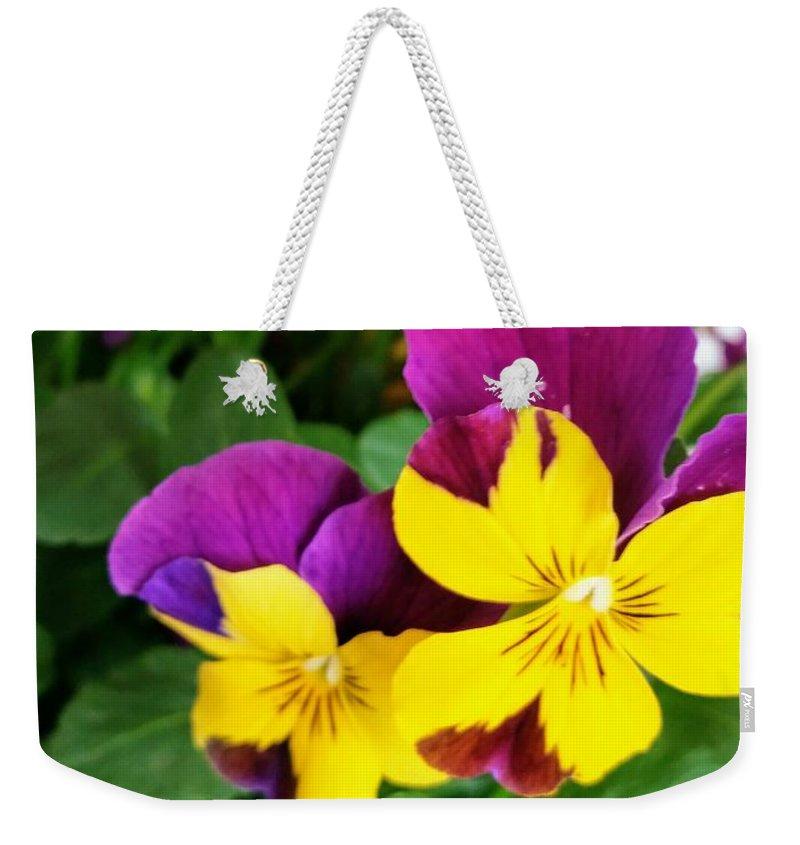 Pansies Weekender Tote Bag featuring the photograph Pansies 2 by Valerie Josi