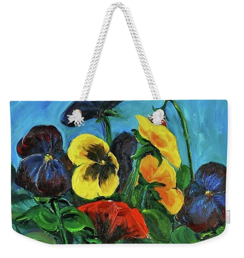 Floral Study Weekender Tote Bag featuring the painting Pansies by Jennifer Christenson