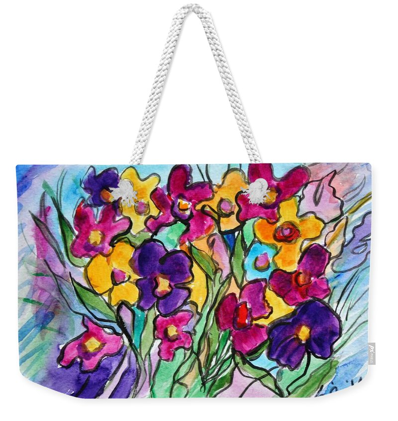 Flowers Weekender Tote Bag featuring the painting Pansies by Luiza Vizoli