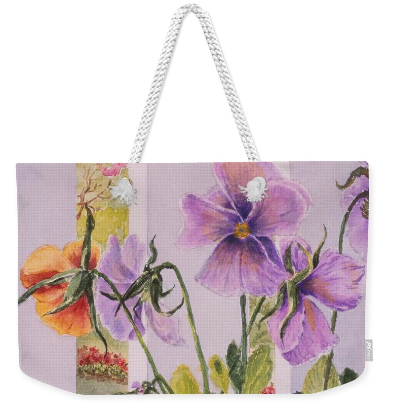 Florals Weekender Tote Bag featuring the painting Pansies On My Porch by Mary Ellen Mueller Legault