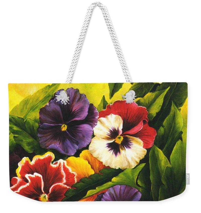 Flowers Weekender Tote Bag featuring the painting Pansies Or Vuela Mis Pensamientos by Dominica Alcantara