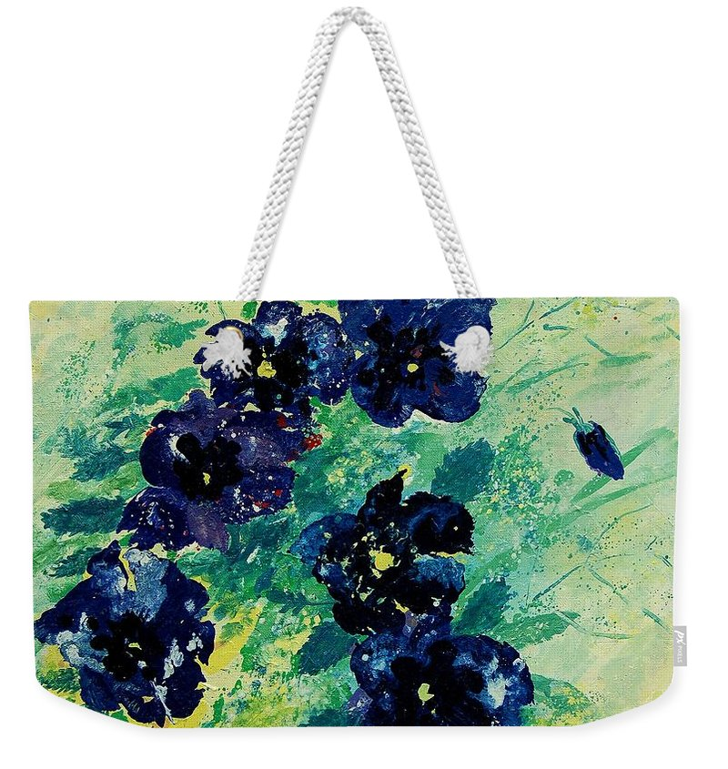 Flowers Weekender Tote Bag featuring the painting Pansies by Pol Ledent