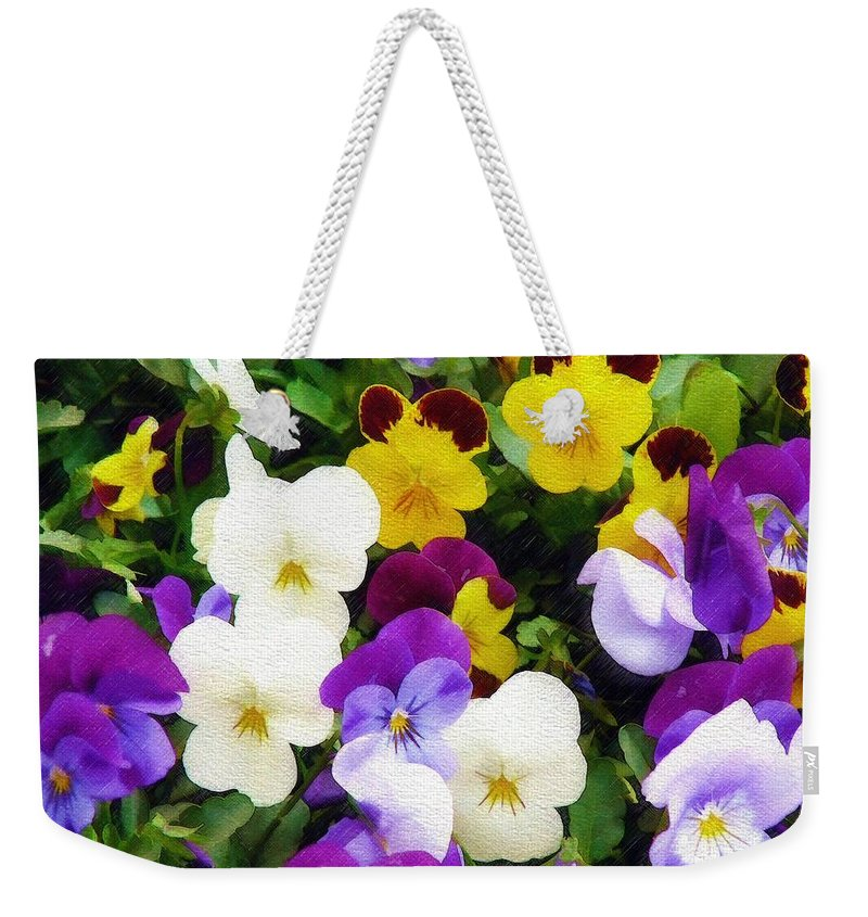 Pansies Weekender Tote Bag featuring the photograph Pansies by Sandy MacGowan