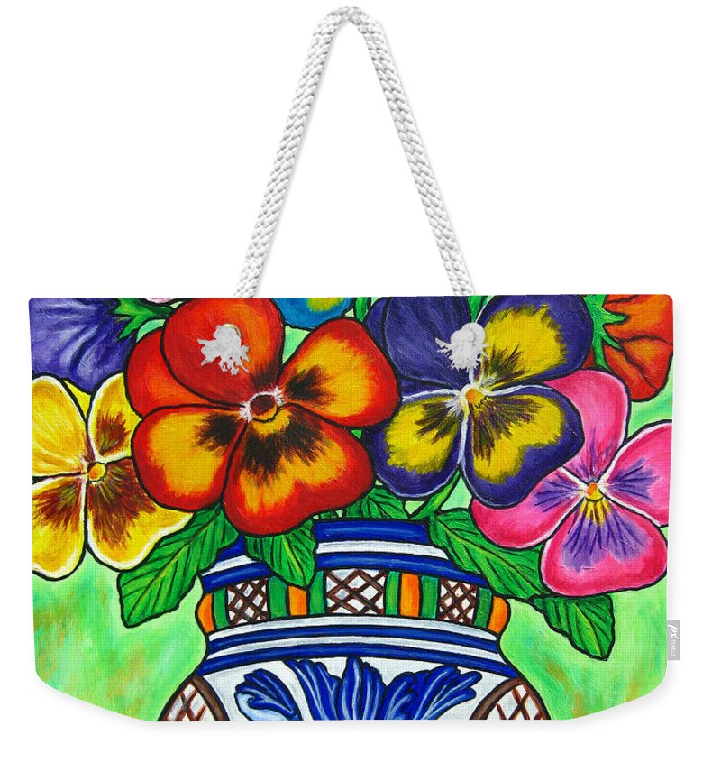 Flower Weekender Tote Bag featuring the painting Pansy Parade by Lisa Lorenz