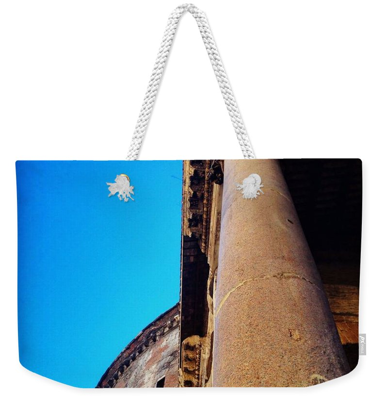 Pantheon Weekender Tote Bag featuring the photograph Pantheon Column by Angela Rath