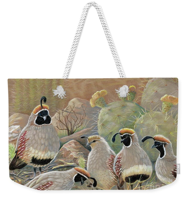 Desert Quail Weekender Tote Bag featuring the drawing Papa Grande by Marilyn Smith