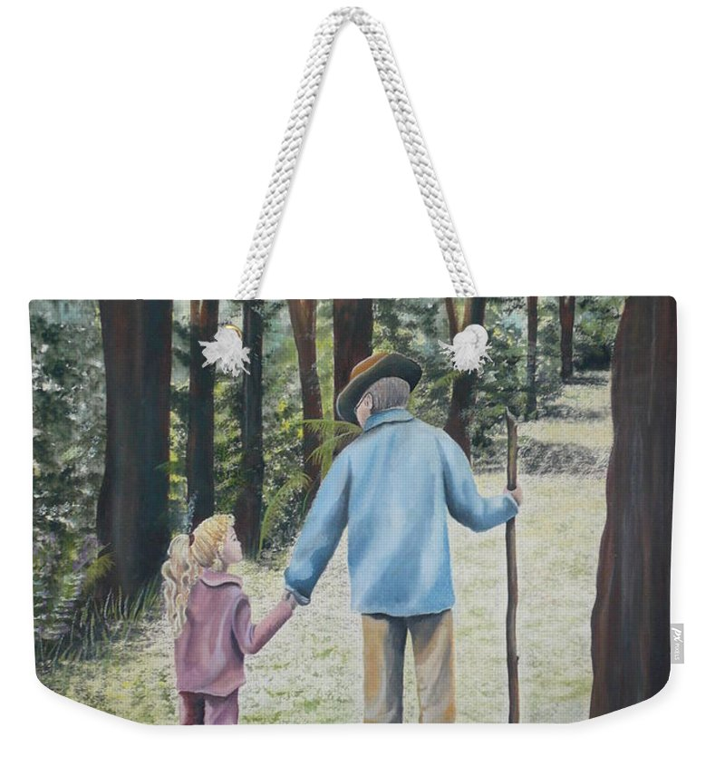 Grandfather Weekender Tote Bag featuring the painting Papa by Kris Crollard