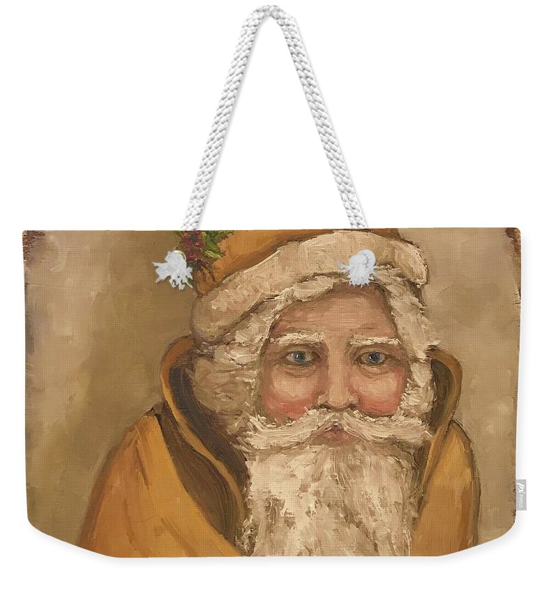 Beth Capogrossi Weekender Tote Bag featuring the painting Papa Noel by Beth Capogrossi