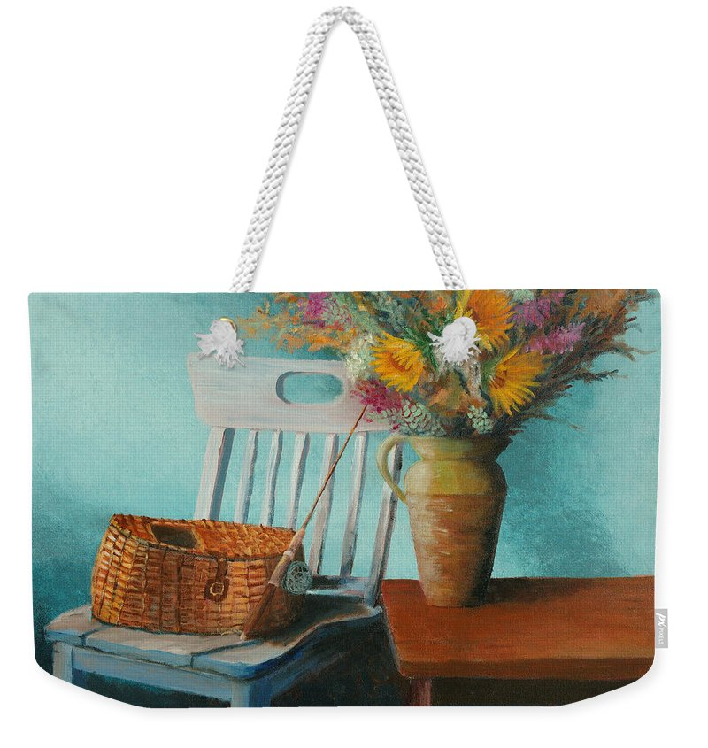 Floral Weekender Tote Bag featuring the painting Papa's Pole by Jerry McElroy
