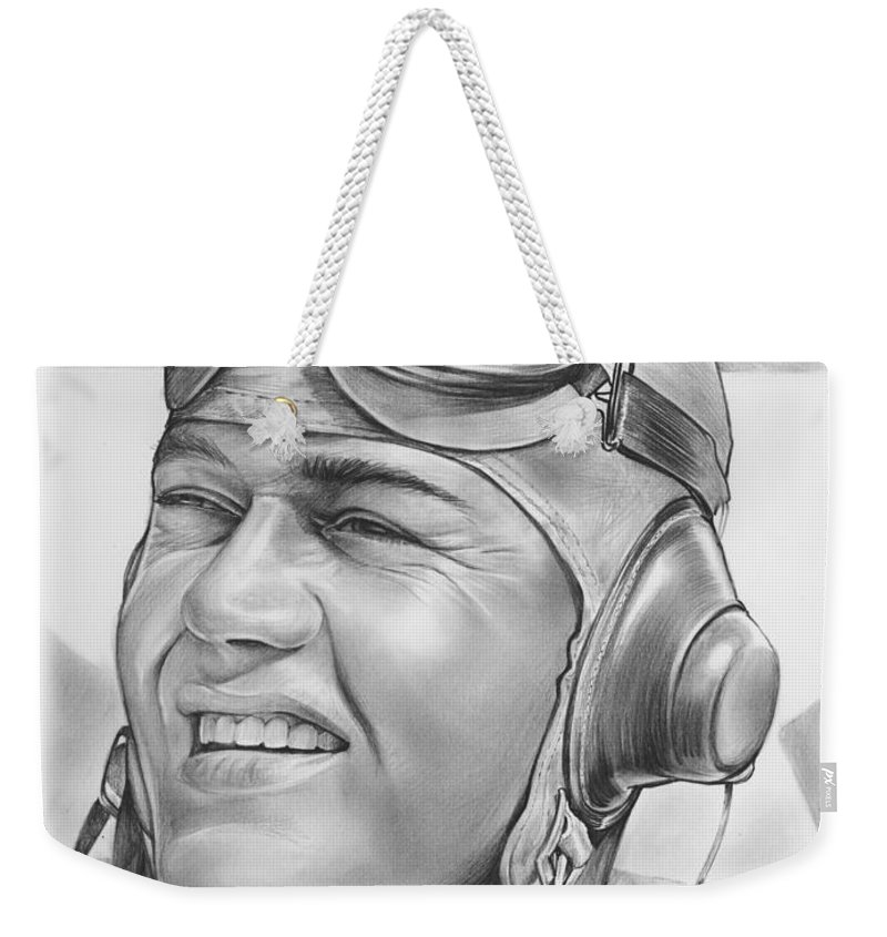 Hero Weekender Tote Bag featuring the drawing Pappy Boyington by Greg Joens