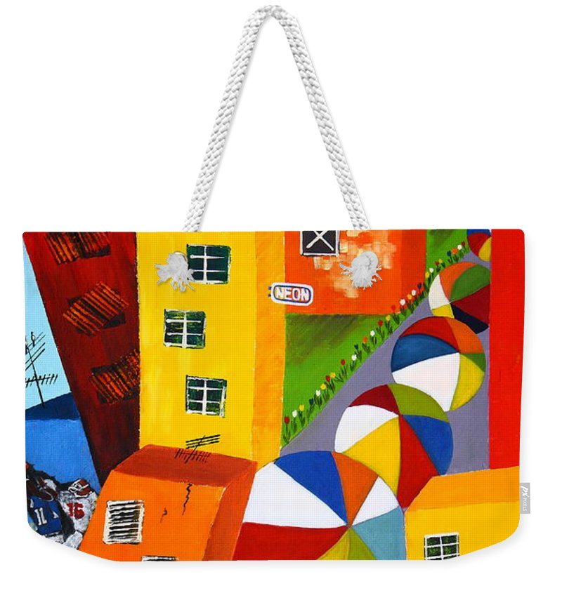 City Weekender Tote Bag featuring the painting Parade The Day After by Barbara Teller