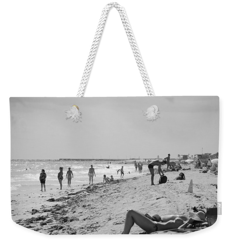 Black And White Weekender Tote Bag featuring the photograph Paradise Beach In Black And White by Rob Hans