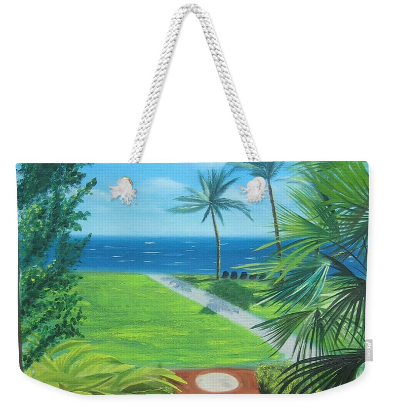 Seascape Weekender Tote Bag featuring the painting Paradise Beckons by Lea Novak