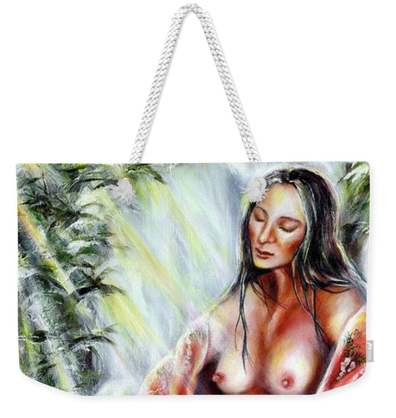Japanese Woman Weekender Tote Bag featuring the painting Paradise by Hiroko Sakai