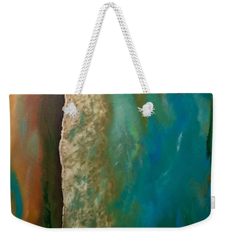 Abstract Weekender Tote Bag featuring the painting Paradise by Karen Langley